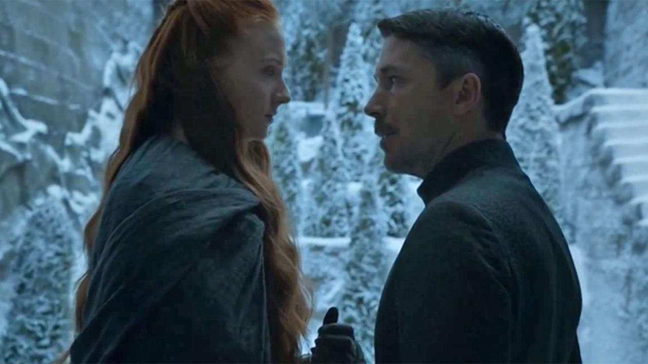 Sophie Turner appears as Sansa Stark and Aidan Gillen appears as Petyr Littlefinger Baelish in this scene from HBOs Game of Thrones, season 4, episode 7, which aired on May 18, 2014.
