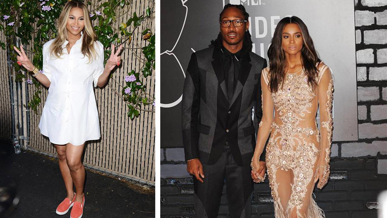 A pregnant Ciara appears at the 2014 Safe Day Kids event in Los Angeles on April 5, 2014. / Future and Ciara appear at the 2013 MTV Video Music Awards in New York on Aug. 25, 2013.