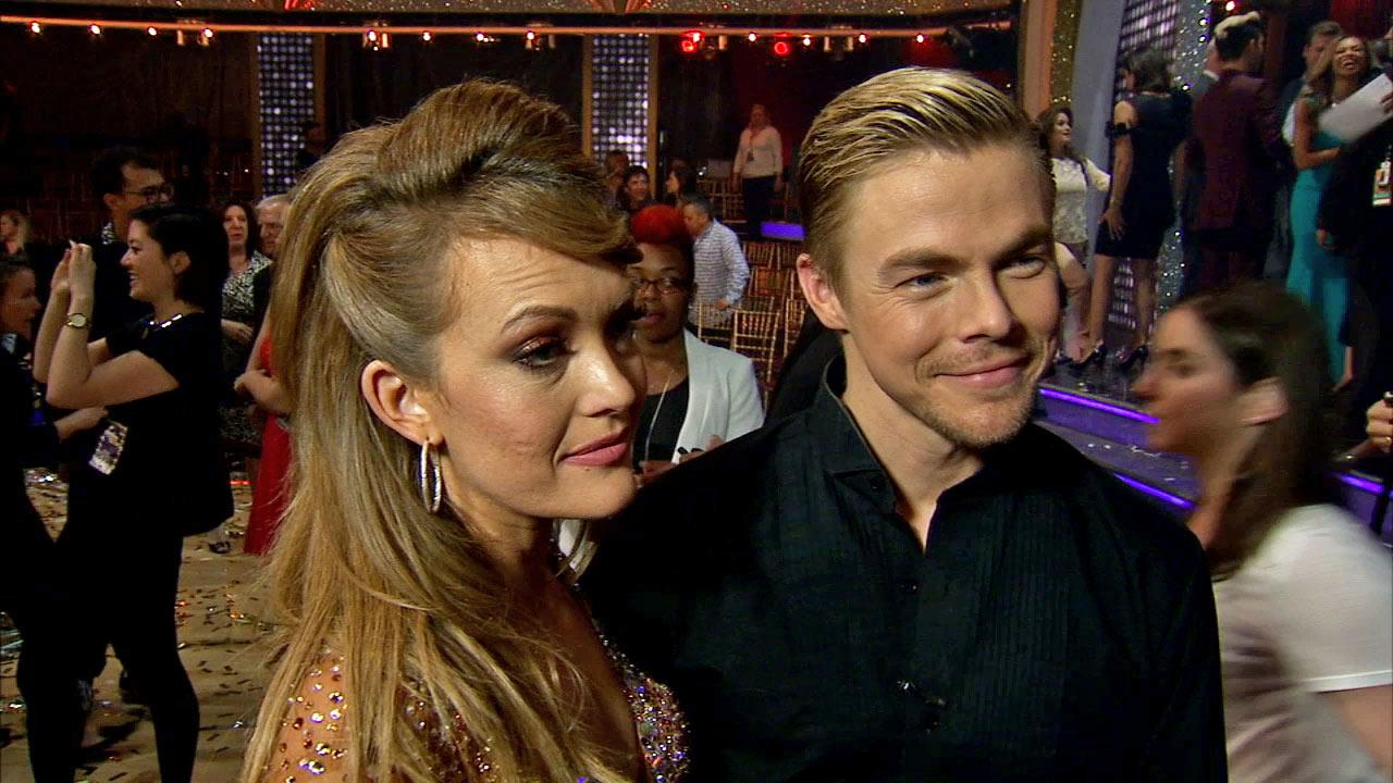 Amy Purdy and Derek Hough after week 10 on Dancing With The Stars season 18 on May 20, 2014.