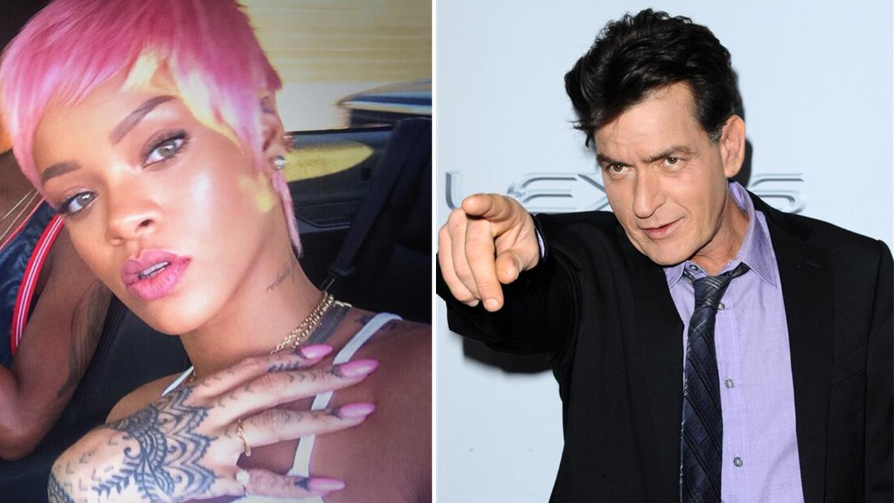 Rihanna appears with a pink wig in a photo posted on her Twitter page on May 15, 2014. / Charlie Sheen appears at the premiere of Scary Movie 5 in Hollywood, California on April 11, 2013.