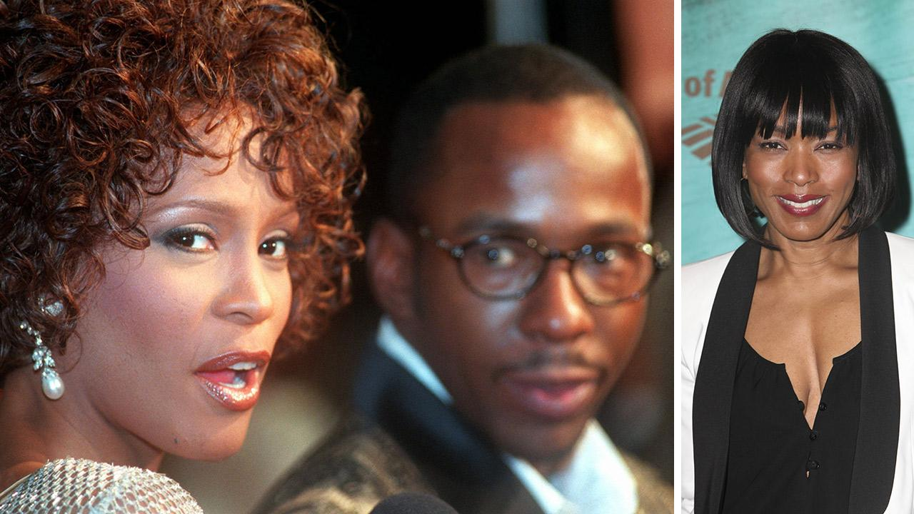 Whitney Houston and Bobby Brown at the premiere of Cinderella in California on Oct. 13, 1997. / Angela Bassett at the opening night of The Gershwins Porgy and Bess in L.A. on April 23, 2014.