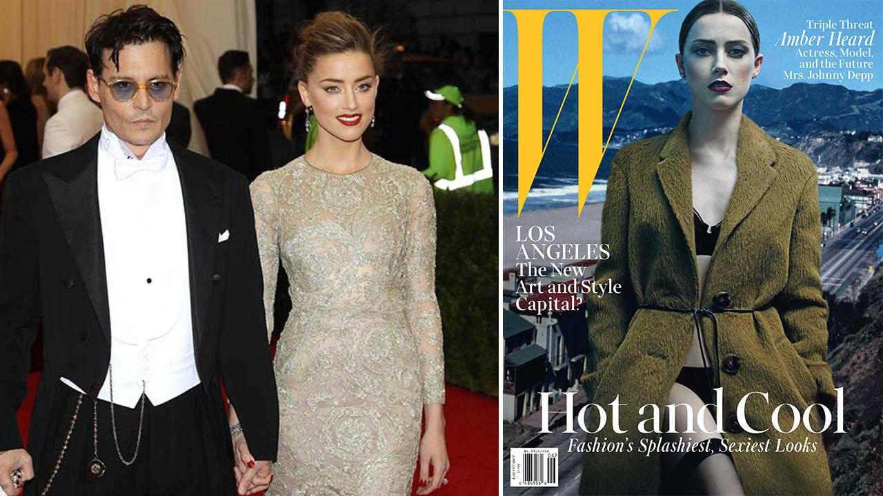 Johnny Depp and Amber Heard appear at the Metropolitan Museum of Arts 2014 Charles James: Beyond Fashion Costume Institute Gala on May 5, 2014. /  Amber Heard appears on W magazines June/July 2014 issue.
