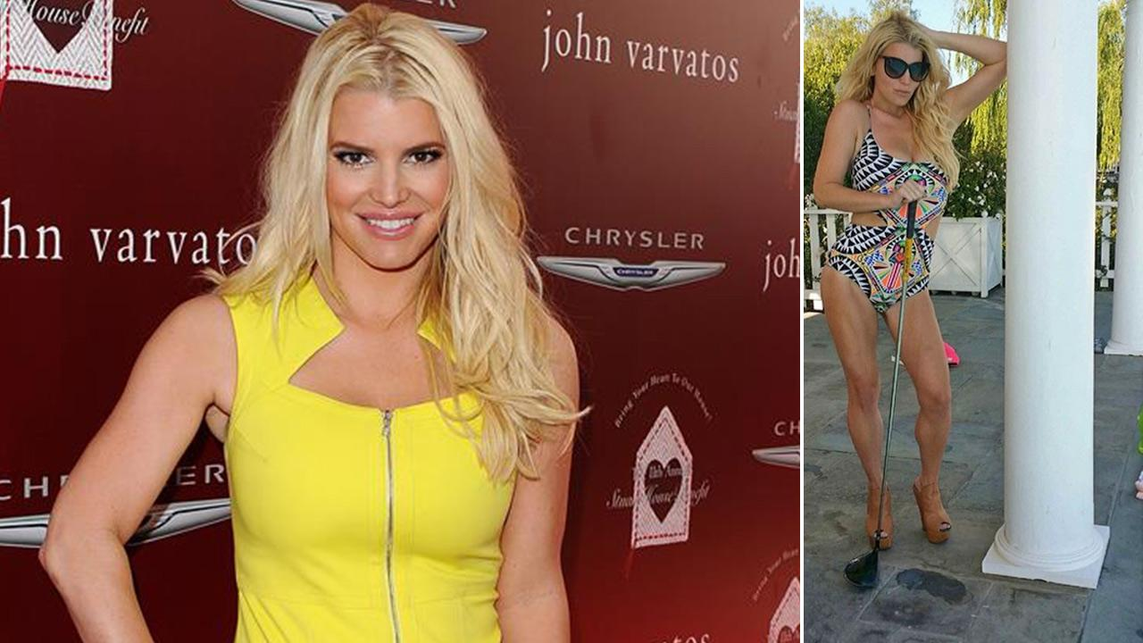 Jessica Simpson appears at the John Varvatos 11th Annual Stuart House Benefit in West Hollywood, California on April 13, 2014. / Simpson appears on Instagram photos posted on her account on May 26, 2014.