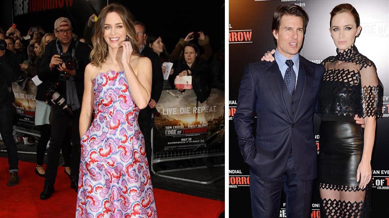Emily Blunt appears at the premieres of Edge of Tomorrow in London (left) on May 27, 2014 and in Paris, with Tom Cruise (right), on May 28, 2014.
