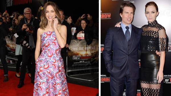 Emily Blunt appears at the premieres of Edge of Tomorrow in London (left) on May 27, 2014 and in Paris, with Tom Cruise (right), on May 28, 2014. - Provided courtesy of Nicolas Briquet / Abaca / Startraksphoto.com