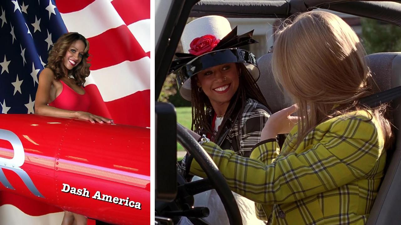 Stacey Dash appears in a a photo message of endorsement for presidential candidate Mitt Romney posted on her Twitter page on Oct. 7, 2012. / Stacey Dash and Alicia Silverstone appear in a scene from the 1995 movie Clueless.