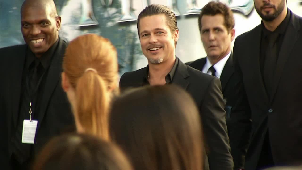 Brad Pitt appears at the premiere of partner Angelina Jolies movie Maleficent in Hollywood, California on May 28, 2014.