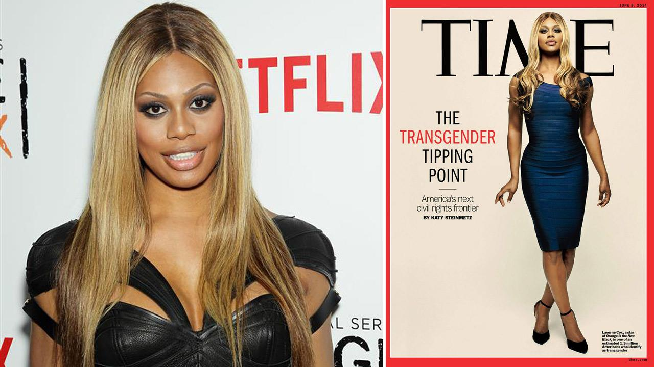 Laverne Cox appears on the June 9, 2014 cover of Time magazine. / Laverne Cox appears at the second season premiere of Orange Is the New Black in New York on May 15, 2014.