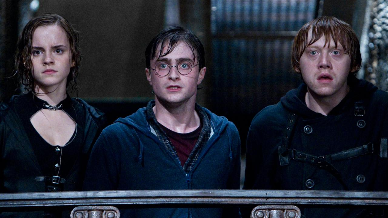 Rupert Grint, Daniel Radcliffe and Emma Watson appear in a still from Harry Potter and the Deathly Hallows Part II.