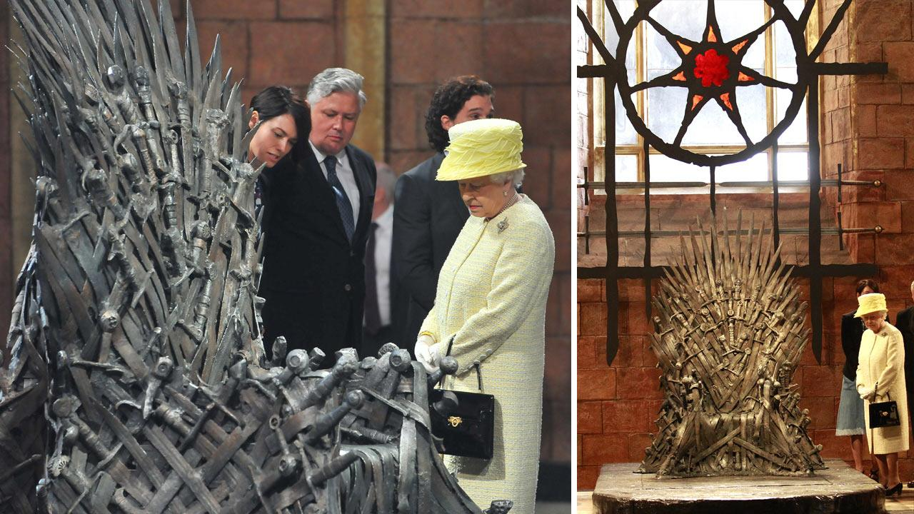 Britains Queen Elizabeth, centre right visits the throne room at the set of the Game of Thrones TV series in  Titanic Quarter, in Belfast Northern Ireland, Tuesday, June, 24, 2014. The Queen is on a 3 day visit to Northern Ireland.