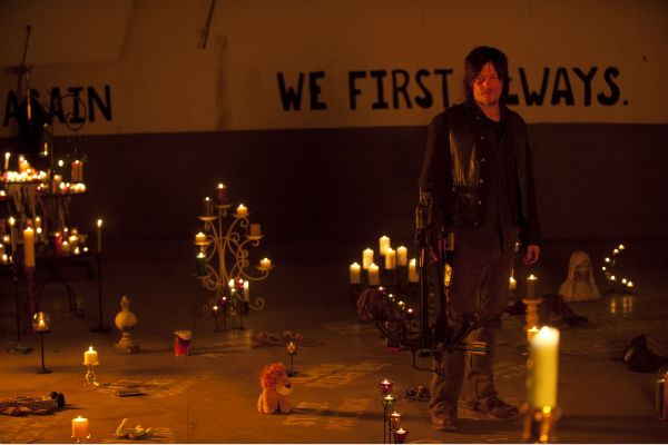 Daryl Dixon &#40;Norman Reedus&#41; is seen in what appears to be a memorial room in Terminus in this scene from AMC&#39;s &#39;The Walking Dead&#39; season 4 finale, which aired on March 30, 2014. <span class=meta>(Gene Page &#47; AMC)</span>