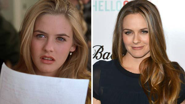 Left -- Alicia Silverstone appears in a still from 'Clueless'. Right -- Alicia Silverstone appears at the 'Ass Backwards' premiere in Los Angeles, California on Oct. 30, 2013.