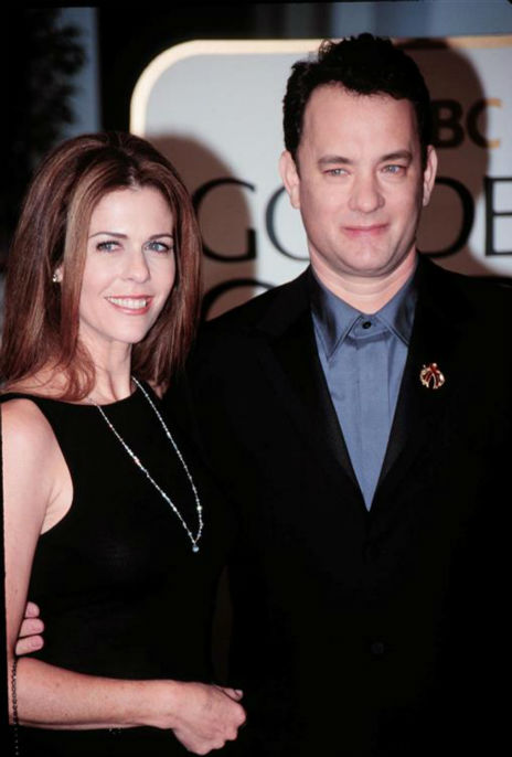 Tom Hanks and wife Rita Wilson attend the 1999 Golden Globe Awards in Beverly Hills, California on Dec. 31, 1999.