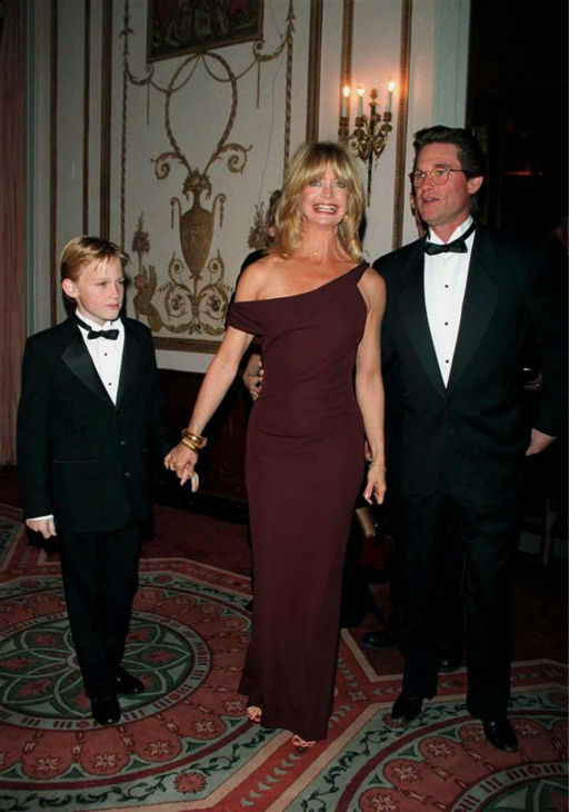 Goldie Hawn and longtime partner Kurt Russell appear with their son, Wyatt, at the American Museum of the Moving Image&#39;s salute to the actress on Feb. 26, 1999. The two have been together since the early 1980s. Hawn also has a son and daughter, Oliver Hudson and actress Kate Hudson, from a past marriage. <span class=meta>(Alex Oliveira &#47; Startraksphoto.com)</span>
