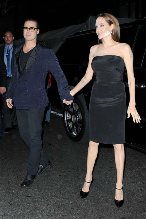 Angelina Jolie and Brad Pitt arrive at the premiere of the HBO film &#39;The  Normal Heart&#39; in New York on May 12, 2014. <span class=meta>(Humberto Carreno &#47; Startraksphoto.com)</span>