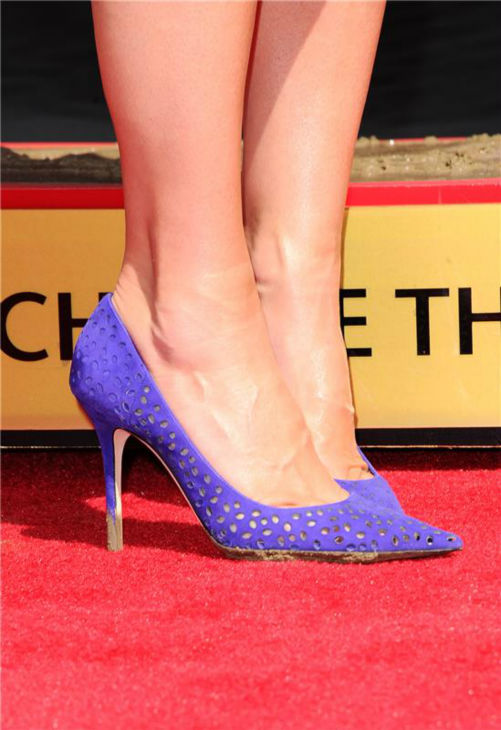 Sandra Bullock&#39;s pumps are see at her hand and footprint ceremony at the TCL Chinese Theatre in Hollywood on Sept. 25, 2013. <span class=meta>(Sara De Boer &#47; Startraksphoto.com)</span>