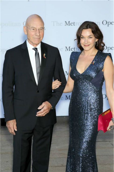 Patrick Stewart and new wife Sunny Ozell attend the New York Metropolitan Opera's season opening performance Of Tchaikovsky's 'Eugene Onegin' on Sept. 23, 2013.