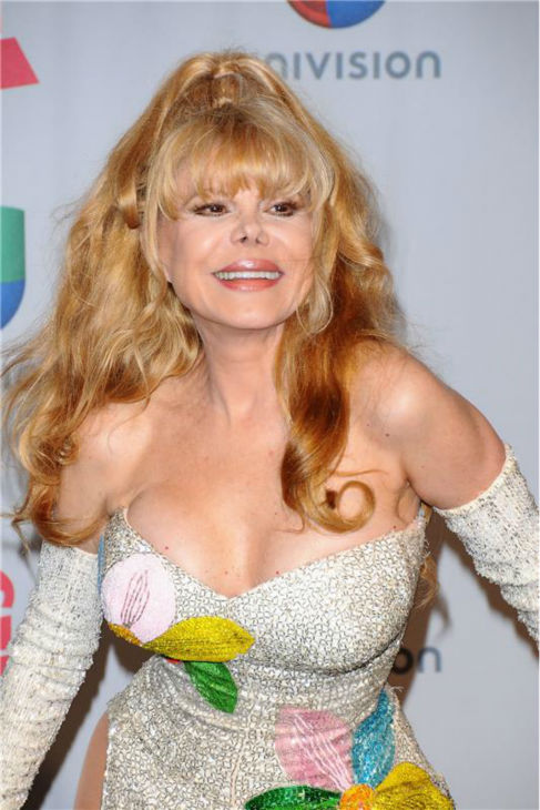 Charo arrives at the 2013 Latin Grammy Awards at the Mandalay Bay Hotel and Casino in Las Vegas on Nov. 21, 2013.
