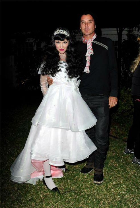 Gwen Stefani and husband and Bush singer Gavin Rossdale are seen Trick-Or-Treating in Los Angeles on Oct. 31, 2013.