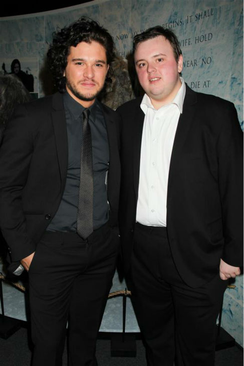 The &#39;Jon-Snow-Knows-Nothing-At-The-&#39;Game of Thrones&#39;-Exhibition&#39; stare. &#40;&#39;Game of Thrones&#39; stars Kit Harington and John Bradley &#40;Samwell Tarly&#41; appear at the event in New York on March 27, 2013. <span class=meta>(Dave Allocca &#47; Startraksphoto.com)</span>
