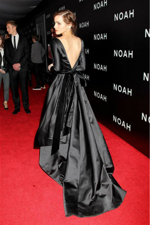 "<div class=""meta ""><span class=""caption-text "">Emma Watson appears at the premiere of 'Noah' in New York on March 26, 2014. The actress, who is wearing a black, satin Oscar de la Renta Fall 2014 gown, plays Ila, the wife of Noah's eldest son, Shem, in Darren Aronofsky's movie. (Dave Allocca / Startraksphoto.com)</span></div>"