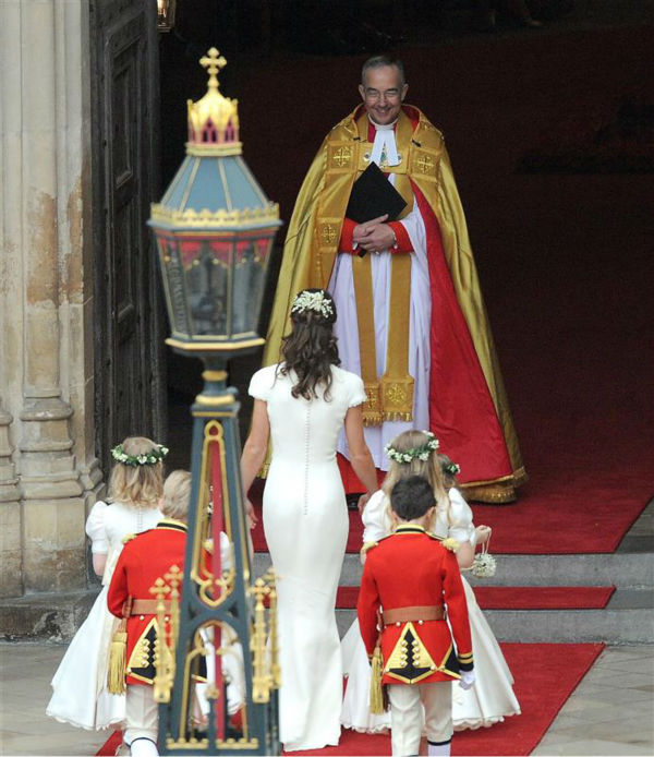 "<div class=""meta image-caption""><div class=""origin-logo origin-image ""><span></span></div><span class=""caption-text"">Pippa Middleton appears at her sister Kate Middleton's Royal Wedding to Prince William at Westminster Abbey in London on April 29, 2011. Pippa became famous due to her a cowl-neck, body-hugging, ivory bridesmaid gown by Sarah Burton at Alexander McQueen. (AMH / Startraksphoto.com)</span></div>"