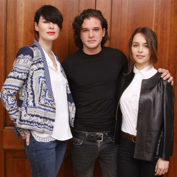 The &#39;Jon-Snow-Knows-Nothing-At-Another-&#39;Game-of-Thrones&#39;-Press-Conference&#39; stare. &#40;Kit Harington &#40;stands in between Lena Headey &#40;Cersei Lannister&#41; and Emilia Clarke &#40;Daenerys Targaryen&#41; at the event in London on May 14, 2012.&#41; <span class=meta>(Munawar Hosain &#47; Startraksphoto.com)</span>