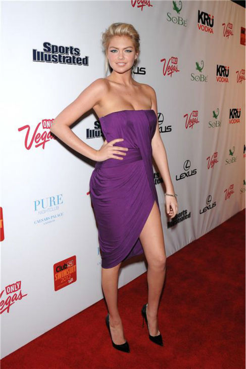 Kate Upton walks the red carpet at a party at Pure nighclub at the Caesar&#39;s Palace Hotel and Casino in Las Vegas, Nevada on Feb. 16, 2012. <span class=meta>(Dave Proctor &#47; Startraksphoto.com)</span>