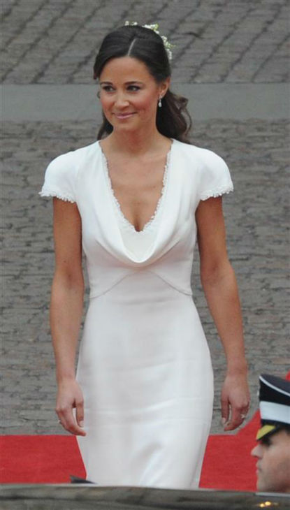 Pippa Middleton appears at her sister Kate Middleton&#39;s Royal Wedding to Prince William at Westminster Abbey in London on April 29, 2011. Pippa became famous due to her a cowl-neck, body-hugging, ivory bridesmaid gown by Sarah Burton at Alexander McQueen. <span class=meta>(AMH &#47; Startraksphoto.com)</span>