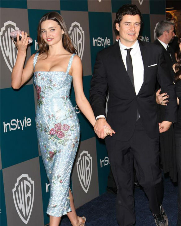 Miranda Kerr and Orlando Bloom appear at the 2012 InStyle and Warner Brothers Golden Globes after party in Los Angeles on Jan. 15, 2012. <span class=meta>(Norman Scott &#47; Startraksphoto.com)</span>