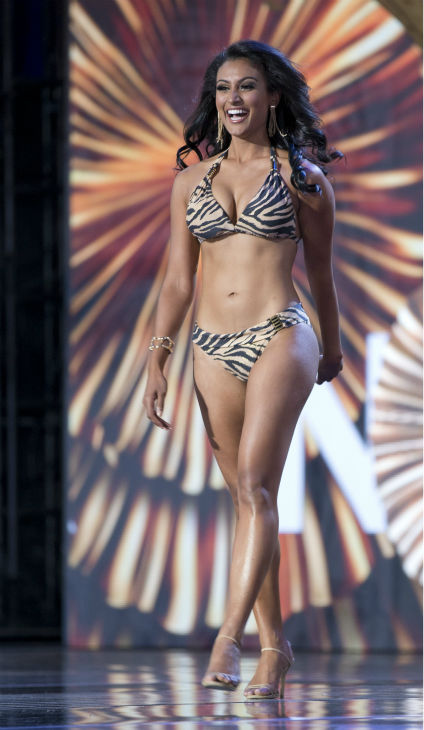 Nina Davuluri, Miss New York, poses in a bikini during the Miss America 2014 pageant in Atlantic City, New Jersey on Sept. 15, 2013. She won the competition, becoming the first Indian-American to secure the crown.