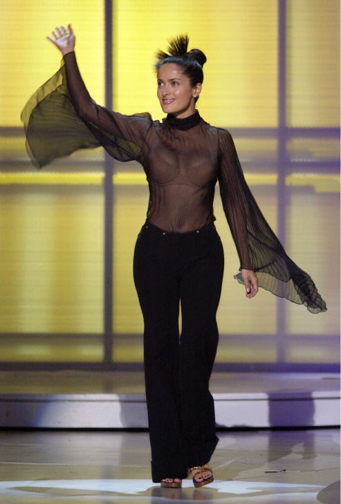 Salma Hayek comes out to introduce the Red Hot Chili Peppers at the 2000 VH1 Music Awards in Los Angeles on Nov. 30, 2000.