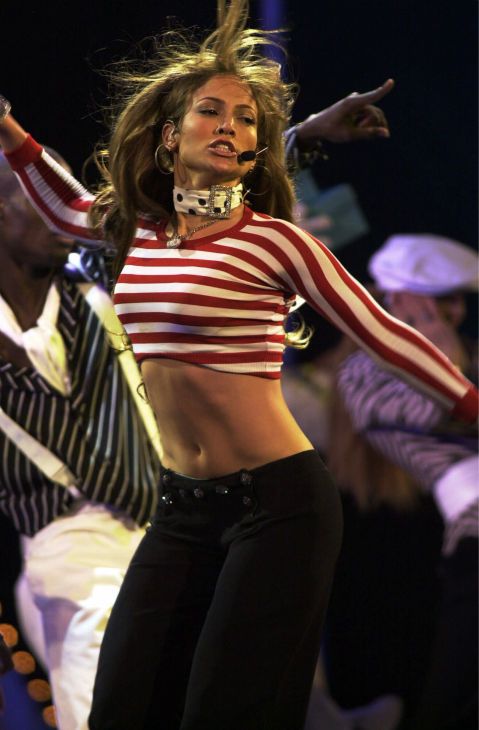 "<div class=""meta ""><span class=""caption-text "">Jennifer Lopez performs at the start of the 28th annual American Music Awards in Los Angeles on Monday, Jan. 8, 2001. (AP Photo / Michael Caulfield)</span></div>"