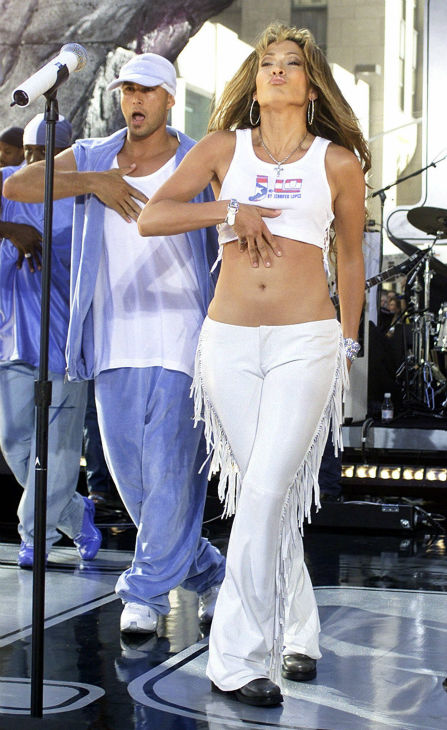 Jennifer Lopez performs on NBC's 'Today' show with dancer Cris Judd in New York's Rockefeller Center on Friday, July 13, 2001.