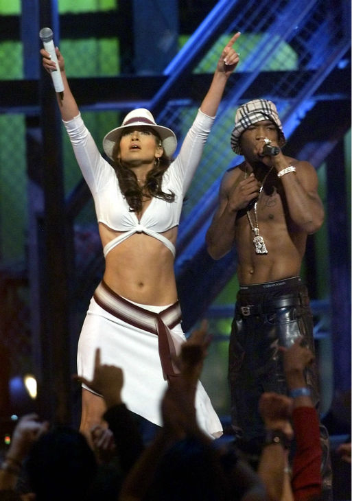 Jennifer Lopez performs with Ja Rule during the 2001 MTV Video Music Awards at New York's Metropolitan Opera House on Thursday, Sept. 6, 2001.