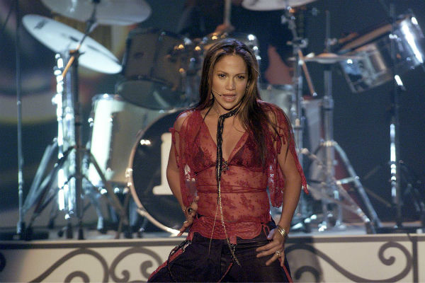 Jennifer Lopez performs on stage in Freiburg, southern Germany on Saturday, Nov. 24, 2001. Lopez was the main star on the television variety show 'Verstehen Sie Spass?'