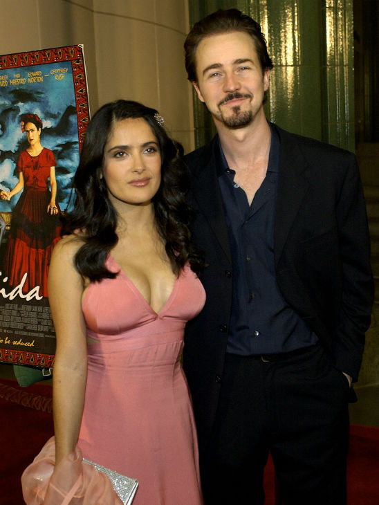Salma Hayek, star of the film 'Frida,' and her boyfriend Edward Norton, who is also a cast member of the film, attend the movie's premiere at the Los Angeles County Museum of Art on Oct. 14, 2002.