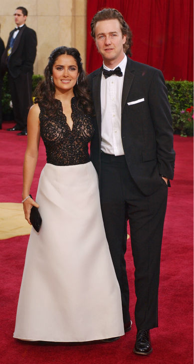 Salma Hayek and Edward Norton arrives for the 75th annual Academy Awards in Los Angeles on March 23, 2003.