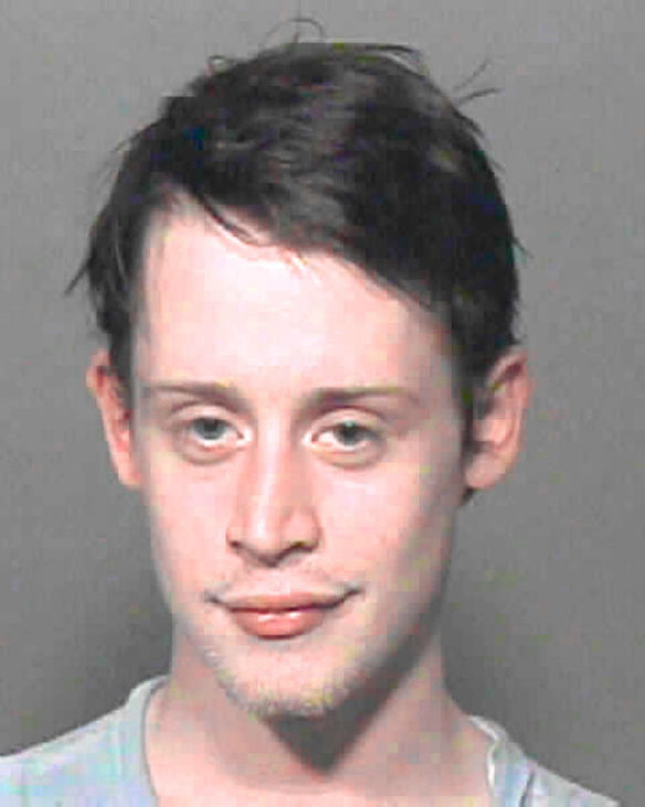 Macaulay Culkin is seen in this mug shot,...
