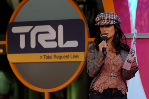 Salma Hayek appears on the MTV show 'Total Request Live' in New York City on Nov. 8, 2004.