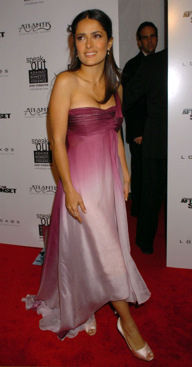 alma Hayek arrives for the world premiere of her new movie 'After The Sunset' in New York on Nov. 9, 2004, in New York.