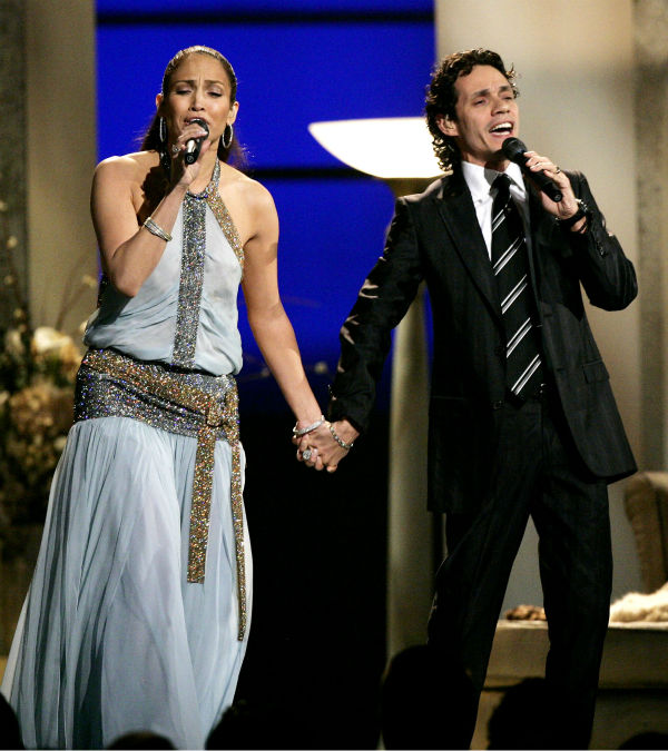 Jennifer Lopez and Marc Anthony perform &#39;Escapemonos&#39; at the 47th Annual Grammy Awards at the Staples Center in Los Angeles on Sunday, Feb. 13, 2005. <span class=meta>(AP Photo &#47; Kevork Djansezian)</span>