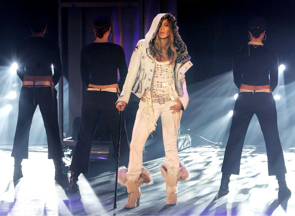 Jennifer Lopez performs during the German TV show &#39;Wetten dass..?&#39; in Erfurt, Germany on Saturday evening, Feb. 19, 2005. <span class=meta>(AP Photo &#47; Jens Meyer &#47; Pool)</span>