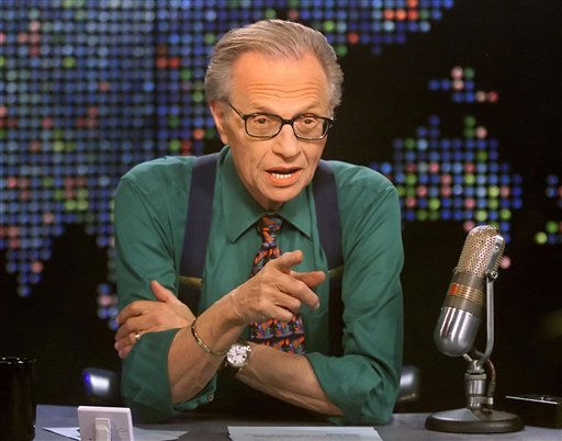 (Pictured: Larry King is shown on the set of his program 'Larry King Live' at the CNN studios in Los Angeles.)
