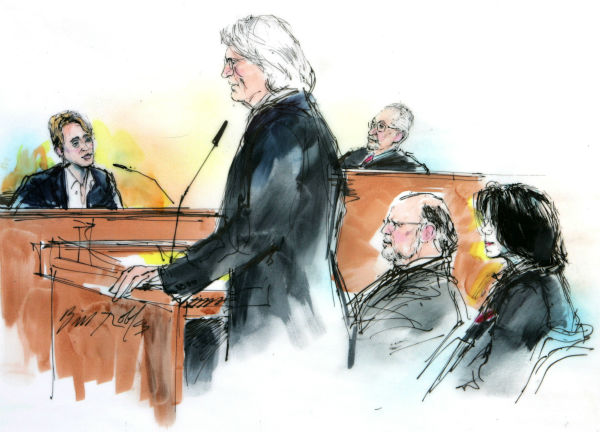 "<div class=""meta ""><span class=""caption-text "">Actor Macaulay Culkin, left, is questioned, in this courtroom sketch,  by defense attorney Thomas Mesereau Jr., standing, as Michael Jackson, right, and attorney Robert Sanger listen with Judge Rodney Melville on the bench in Jackson's child molestation trial at the courthouse in Santa Maria, California on Wednesday, May 11, 2005. Culkin calmly and confidently testified that he was never molested by Jackson and told jurors that he and the pop star have a bond based on the shared experience of being children thrust into stardom. (AP Photo / Bill Robles)</span></div>"