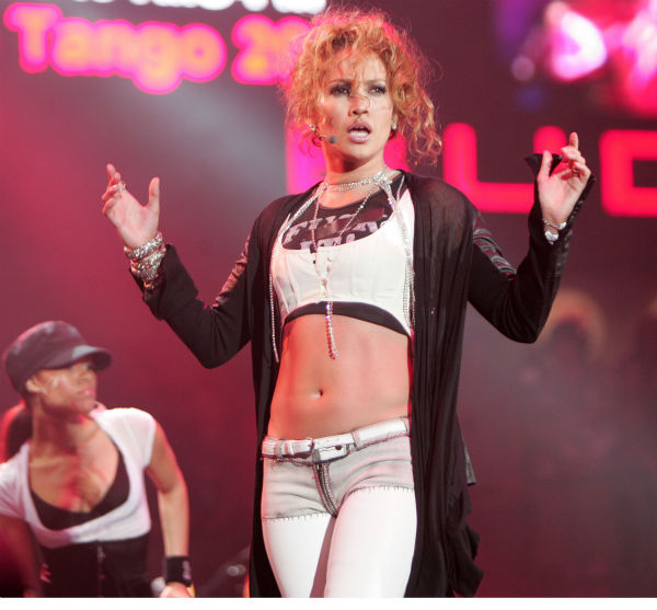 Jennifer Lopez performs during the 102.7 KIIS-FM Wango Tango concert at at Angels Stadium in Anaheim, California on May 14, 2005. <span class=meta>(AP Photo &#47; Chris Polk)</span>