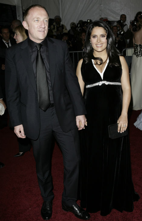 Salma Hayek and husband Francois-Henri Pinault arrive at the Metropolitan Museum of Art Costume Institute Gala in New York on May 7, 2007.