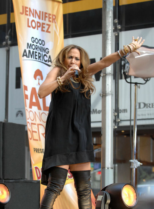 Jennifer Lopez performs on ABC&#39;s &#39;Good Morning America&#39; Fall Concert Series on 44th street in Times Square in New York City on Tuesday Oct. 9, 2007. <span class=meta>(AP Photo &#47; Peter Kramer)</span>