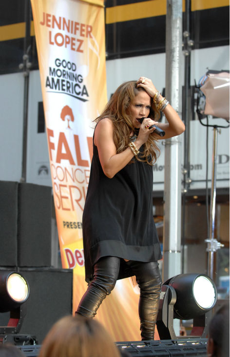 "<div class=""meta ""><span class=""caption-text "">Jennifer Lopez performs on ABC's 'Good Morning America' Fall Concert Series on 44th street in Times Square in New York City on Tuesday Oct. 9, 2007. (AP Photo / Peter Kramer)</span></div>"