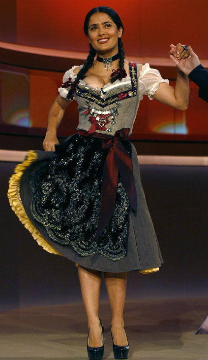 Salma Hayek appears in a traditional Bavarian Drindl dress on the German television show &#39;Wetten dass...?&#39;in Nuremberg, Germany on Oct. 4, 2008. <span class=meta>(AP Photo &#47; Alexandra Beier)</span>